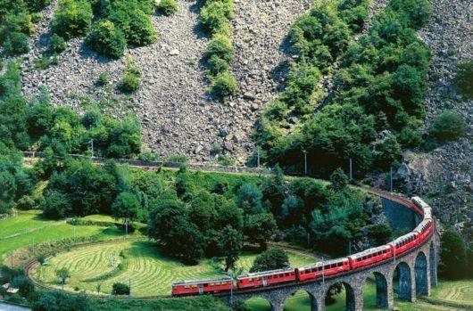 Brusio Spiral Viaduct Railway In Switzerland
