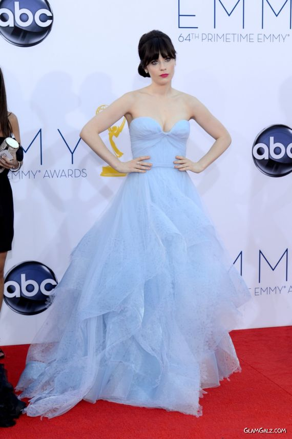 Zooey Deschanel In A Gown At 64th Primetime Emmy Awards