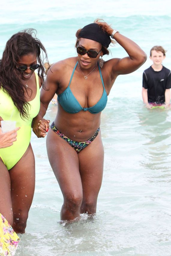 Serena Williams On Vacation At Miami Beach